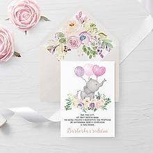 Papiernictvo - Narodeninová pozvánka ružový sloník - 11725082_