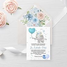 Papiernictvo - Narodeninová pozvánka modrý sloník - 11725086_