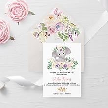 Papiernictvo - Pozvánka na krst ružový sloník - 11725087_