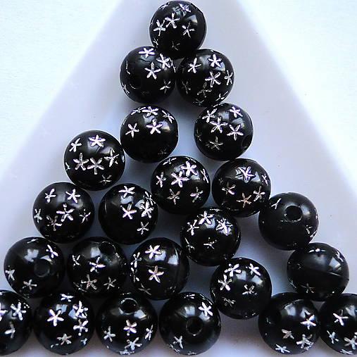 Plastové korálky 8mm-20ks (čierna)