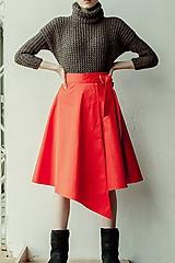 Sukne - KARLA - elegantná asymetrická zavinovacia sukňa - 11729049_