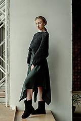 Sukne - LINA - ľanová asymetrická sukňa v tmavších farbách (Žltozelený melange) - 11729081_
