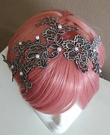 Ozdoby do vlasov - Strieborno sivá romantická čelenka - 11726152_