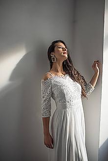 Šaty - Svadobné šaty z hrubej krajky s holými ramenami - 11728860_