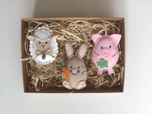 Dekorácie - Veľkonočné vajíčka - ovečka, prasiatko, zajačik - 11726857_