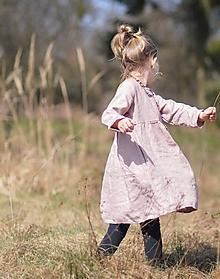 Detské oblečenie - Lněné šatičky pudrově růžové - 11726564_