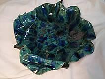 Nádoby - Tyrkysovo modrá pokrčena misa - 11733226_
