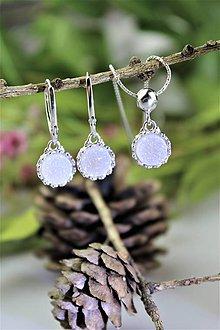 Sady šperkov - náušnice drúzy a prívesok v striebre - luxusná súprava - 11732355_