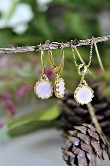 Sady šperkov - náušnice s drúz a prívesok v striebre - luxusná súprava - 11732867_