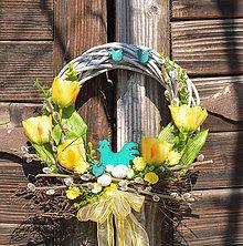 Dekorácie - Veľkonočný venček na dvere - 11730393_