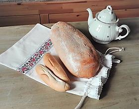 Úžitkový textil - Ľanové vrecko na veľký chlieb červenou ružou cifrované 45 x 30,5 cm - 11731078_