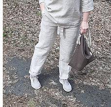 Nohavice - Dlhé ľanové nohavice naturálne - 11729842_