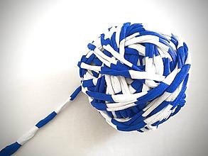 Materiál ručne robený - Tričkovlna AJ NA RÚŠKA... Bielo-modré prúžky (bavlna) - 11732793_