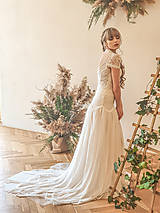 Šaty - Svadobné šaty s golierom – body a sukňa - 11729670_