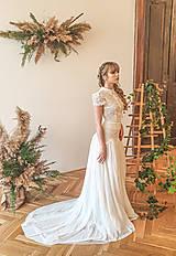 Šaty - Svadobné šaty s golierom – body a sukňa - 11729672_