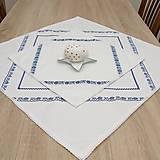 Úžitkový textil - TEREZA - folklór nestarne - štvorcový obrus modrý - 11729963_