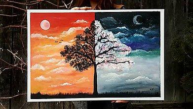 Obrazy - Deň a noc - akryl na plátne - 11730543_