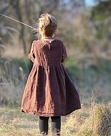 Detské oblečenie - Lněné šatičky hnědé - 11731015_
