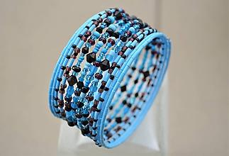 Náramky - Náramok modro čierny mix - 11729459_