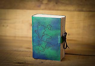 Papiernictvo - Kožený zápisník (zeleno modrý) - 11732925_