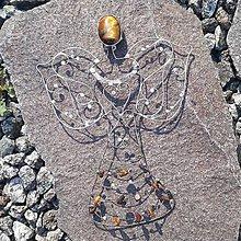 Dekorácie - Anjel na zavesenie - Tigrie oko - 11736925_