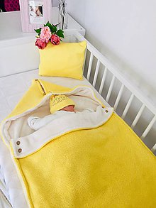 """Textil - Detský fusak, """"Silk"""", OEKO-TEX®, žltý/smotanová podšívka - 11733634_"""