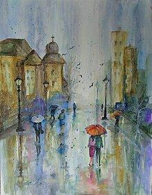 Obrazy - Daždivý deň - akvarel - 11733889_