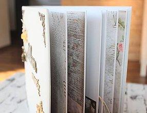 Papiernictvo - Elegantný biely kvetinový fotoalbum pre dámu - 11735088_