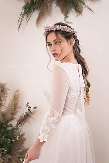 """Ozdoby do vlasov - Romantický venček """"nevestin závoj"""" - ružový - 11734626_"""