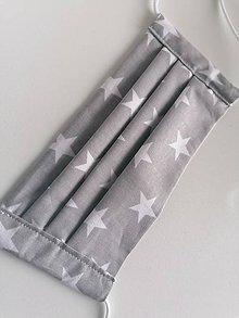 Rúška - Bavlnené rúško šedé s hviezdičkami - 11733514_