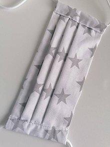 Rúška - Bavlnené rúško biele s hviezdičkami - 11733517_