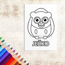 Hračky - Omaľovánka roztomilé zverky - ježko - 11736616_