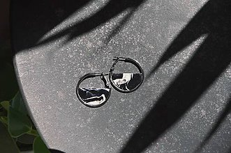 Náušnice - Náušnice ZEN v kruhu ~ čierny mramor (Strieborná) - 11737547_
