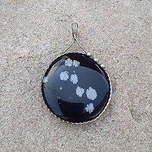 Náhrdelníky - Cínovaný prívesok - Obsidián vločkový - 11740958_