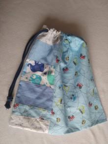 Detské tašky - Modré vrecúško - autíčka - 11738894_