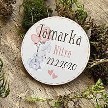 Detské doplnky - Magnetky na pamiatku s dátumom narodenia a menom dieťatka zajko2 - 11737954_