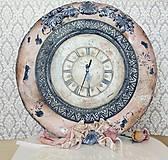 Hodiny - Nástenné hodinky v štyle Shabby Chic - 11741181_
