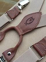 Detské doplnky - Detské béžové traky s hnedou kožou - 11737582_