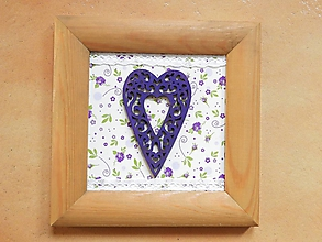 Dekorácie - Obrázek malý Srdíčko na květinkách - 11741012_