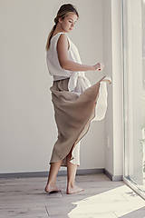 Sukne - Ľanová sukňa Campana dlhá - 11737517_