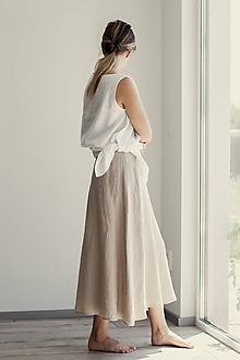 Sukne - Ľanová sukňa Campana dlhá - 11737514_