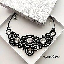 Náhrdelníky - Perla náhrdelník (Čierna + strieborná) - 11740659_
