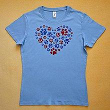 Tričká - Modré dámské triko s kočičími stopami M 1135500 - 11737525_