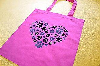 Nákupné tašky - Tmavě růžová plátěná taška s kočičími stopami 11355004 - 11737526_