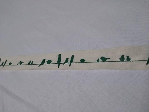Bavlnená stuha vták zelená