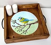 Masívna drevená tácka -ručne maľovaná- Milujem slobodu