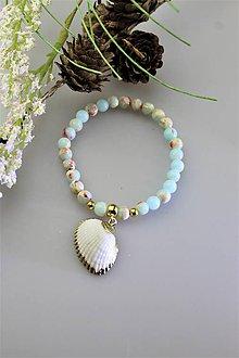Náramky - jaspis oceán náramok s mušličkou - 11744803_