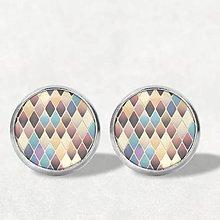 Náušnice - Mozaika #01 | Hnedá (12 mm) - 11743561_