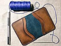 Peňaženky - Kožená mini peňaženka na karty Drobec - 11742156_