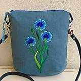 Kabelky - Modrá ľanová kabelka/ Nevädza poľná - 11743249_